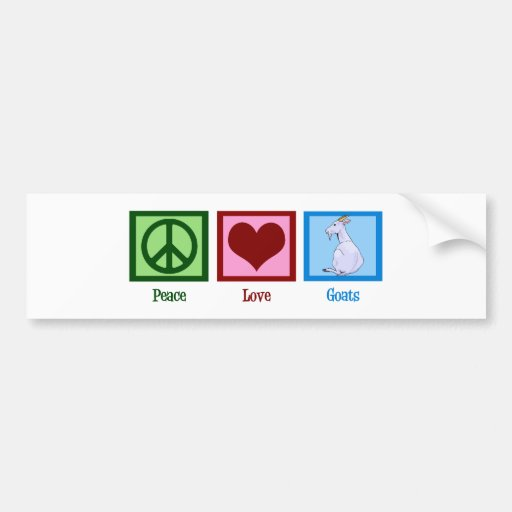 Peace Love Goats Car Bumper Sticker