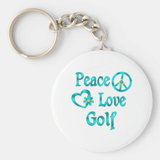 Peace Love Golf Basic Round Button Key Ring