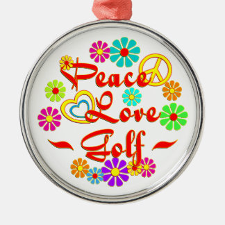 PEACE LOVE Golf Christmas Ornament