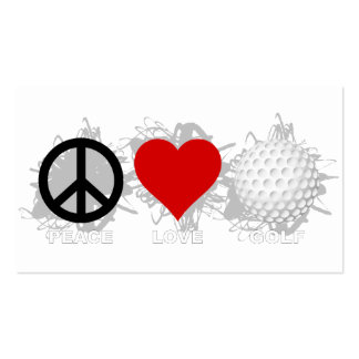 Peace Love Golf Emblem Pack Of Standard Business Cards