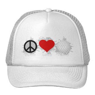 Peace Love Golf Emblem Trucker Hat