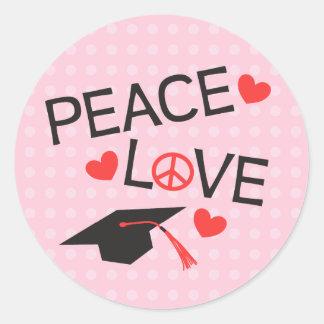 Peace Love Graduation Stickers - Polka Dot Pink