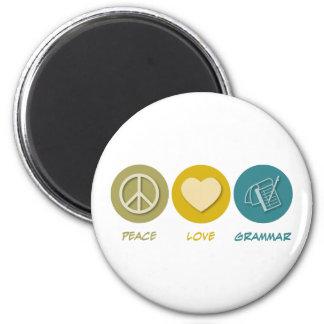 Peace Love Grammar 6 Cm Round Magnet