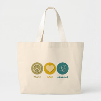 Peace Love Grammar Large Tote Bag