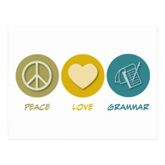 Peace Love Grammar Postcard
