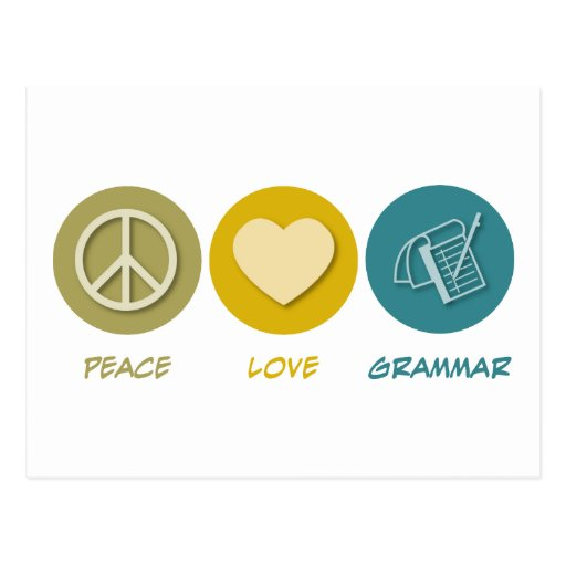 Peace Love Grammar Post Card