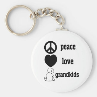 Peace Love & Grandkids Basic Round Button Key Ring