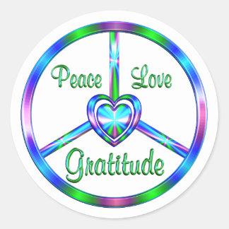 Peace Love Gratitude Classic Round Sticker