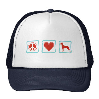 Peace Love Great Danes Squares Trucker Hat