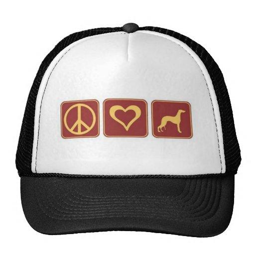 Peace Love Greyhound Trucker Hat