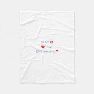 Peace Love Greyhounds Fleece Blanket