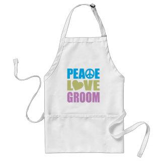 Peace Love Groom Standard Apron