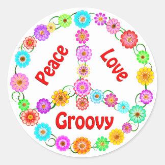 Peace Love Groovy Round Sticker