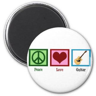 Peace Love Guitar 6 Cm Round Magnet