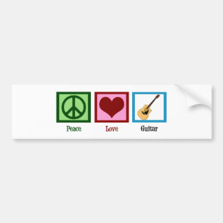 Peace Love Guitar Bumper Sticker