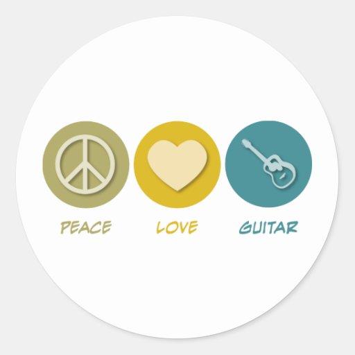 Peace Love Guitar Round Sticker