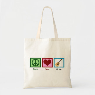 Peace Love Guitar Tote Bag