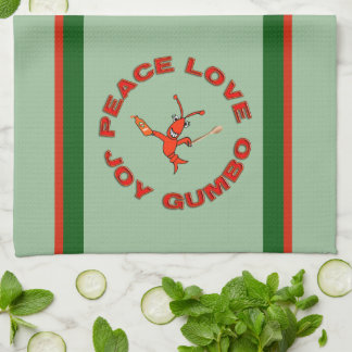 Peace Love Gumbo Crawfish Tea Towel