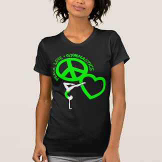 Peace-Love-Gymnastic, neon green T Shirts