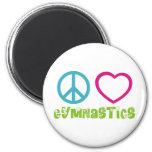 Peace Love Gymnastics 6 Cm Round Magnet
