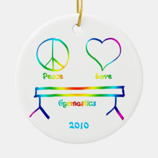 Peace Love Gymnastics Round Ceramic Decoration