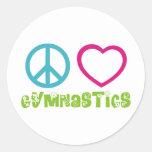 Peace Love Gymnastics Round Sticker