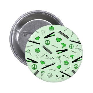 Peace, Love, & Hair Accessories (Green) Button