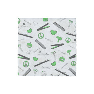 Peace, Love, & Hair Accessories (Green) Stone Magnet