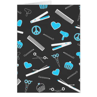 Peace, Love, & Hair Accessories (Light Blue Dark) Greeting Cards