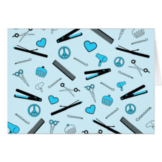 Peace, Love, & Hair Accessories (Light Blue) Greeting Card