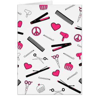 Peace, Love, & Hair Accessories (Pink) Greeting Cards