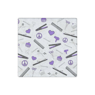 Peace, Love, & Hair Accessories (Purple) Stone Magnet