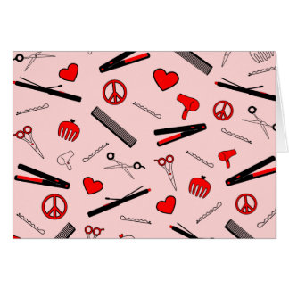 Peace, Love, & Hair Accessories (Red) Greeting Card