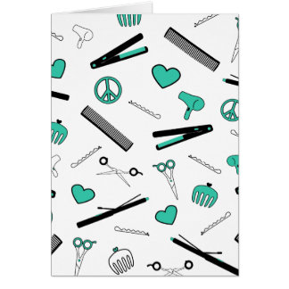Peace, Love, & Hair Accessories (Turquoise) Greeting Cards