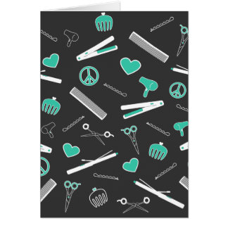 Peace, Love, & Hair Accessories (Turquoise Dark) Greeting Card