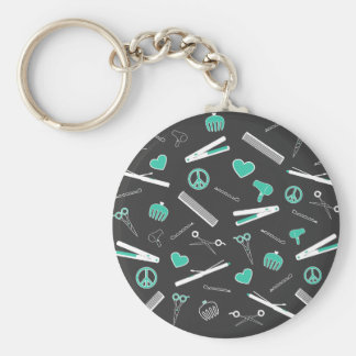 Peace, Love, & Hair Accessories (Turquoise Dark) Key Ring