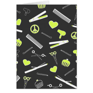 Peace, Love, & Hair Accessories (Yellow Dark) Cards