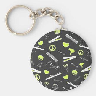 Peace, Love, & Hair Accessories (Yellow Dark) Keychain