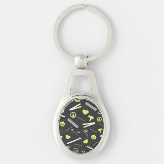 Peace, Love, & Hair Accessories (Yellow Dark) Silver-Colored Oval Key Ring