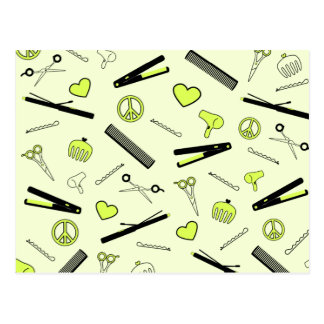 Peace, Love, & Hair Accessories (Yellow) Postcard