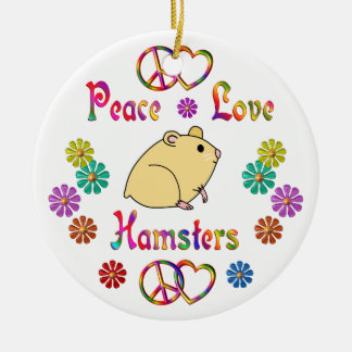 PEACE LOVE HAMSTERS CHRISTMAS ORNAMENT