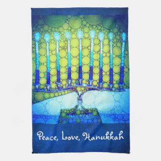 """""""Peace, Love, Hanukkah"""" Blue & Green Menorah Photo Tea Towel"""