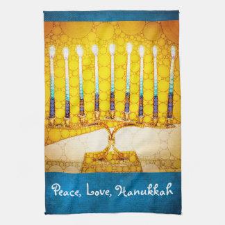 """""""Peace, Love, Hanukkah"""" Yellow Gold Menorah Photo Tea Towel"""