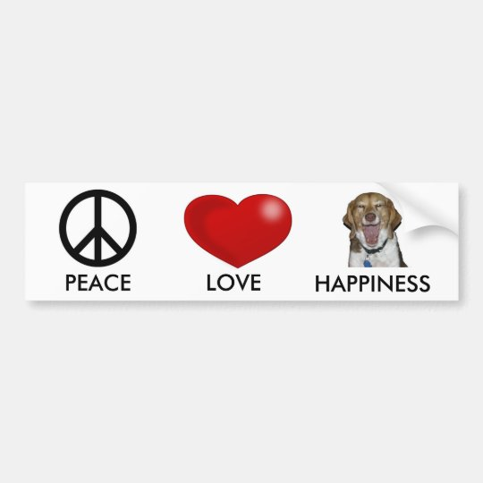 PEACE, LOVE HAPPINESS BUMPER STICKER