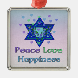 Peace Love Happiness Christmas Ornament