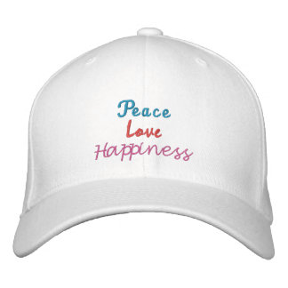 Peace, Love, Happiness-Embroidered-Hat Embroidered Baseball Caps