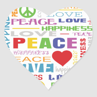 Peace Love Happiness Heart Sticker