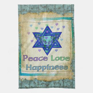 Peace Love Happiness Tea Towel