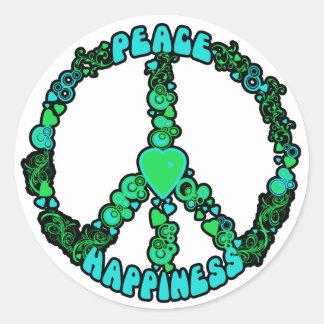Peace Love Happy Round Sticker