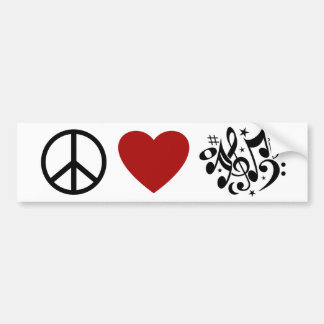 Peace Love Harmony Red Heart Black Musical Notes Bumper Sticker